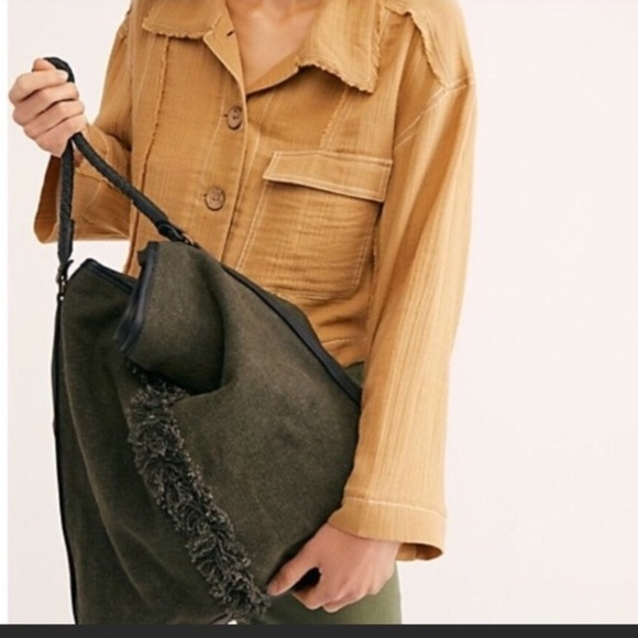 Free People Handbags - Free People canvas & leather Crossbody tote NEW